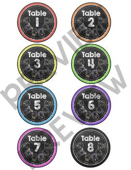 Chalkboard Theme Table Signs