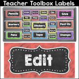 Chalkboard Theme Teacher Toolbox Labels - Editable Labels