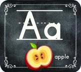 Chalkboard Themed Alphabet - Manuscript