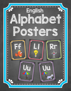 Chalkboard Themed Alphabet Posters with Pictures