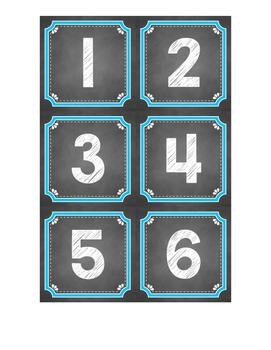 Chalkboard Themed Calendar Numbers {Blue}