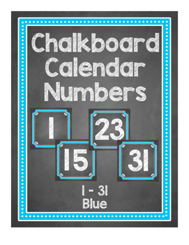 Chalkboard Themed Calendar Numbers {Blue}