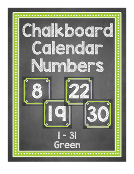 Chalkboard Themed Calendar Numbers {Green}