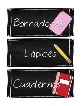 Chalkboard-Themed Class Supply Labels (Spanish)