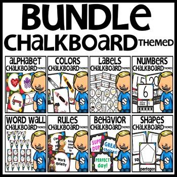 Chalkboard Themed Classroom Decor Bundle