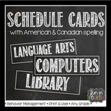 Editable Schedule Cards Chalkboard Themed