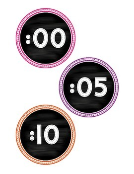 Chalkboard Themed Clock Labels