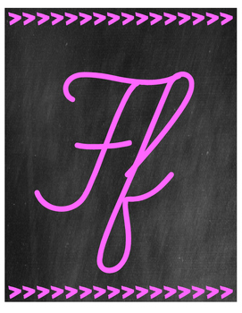 Chalkboard Themed Cursive Alphabet