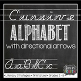 Cursive Alphabet with Directional Arrows Chalkboard Themed