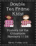 Chalkboard Themed Double Ten Frame Kid Posters