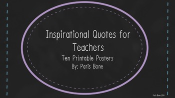 Chalkboard-Themed Inspirational Quote Posters for Teachers