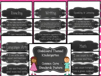 "Chalkboard (ELA & Math) Kindergarten Common Core Standards ""I Can"" Posters"