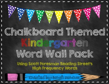 Chalkboard Themed Kindergarten Reading Street Word Wall Pack