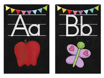 Chalkboard Themed Letter Cards with Handwriting Lines & Beginning Sound Pictures