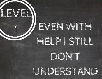 Chalkboard Themed Levels of Understanding Charts