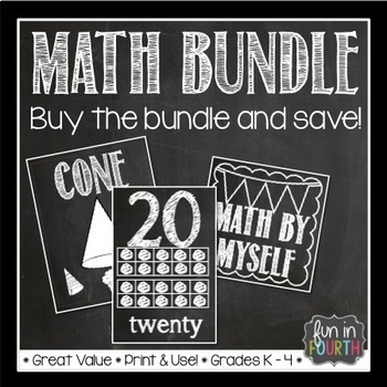 Math Bundle - Anchor Charts, Number Cards, Rotation Cards