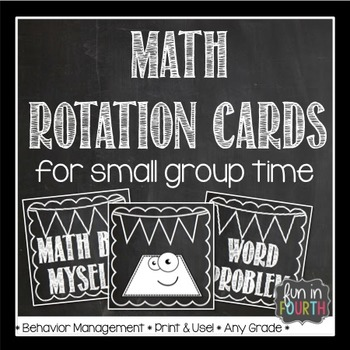 Math Rotation Cards Chalkboard Themed