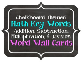 Chalkboard Themed Math Words Word Wall Cards