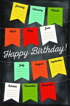 Chalkboard Themed Birthdays Poster