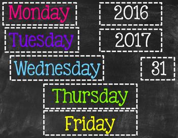 Chalkboard Themed Neon Brights Calendar Corner