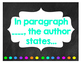 Chalkboard Themed Text Evidence Sentence Starter Posters