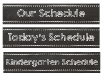 Chalkboard Themed Visual Schedule Cards