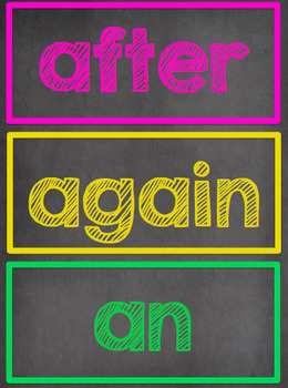 Chalkboard Themed Word Wall- Dolch First Grade Sight Words