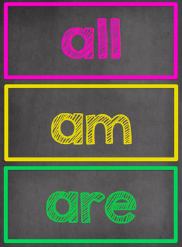 Chalkboard Themed Word Wall- Dolch Primer Sight Words {EDITABLE}