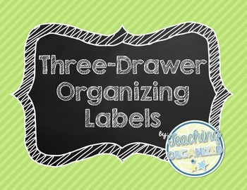 Chalkboard Three Drawer Organizing Labels - Cursive