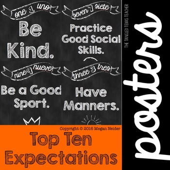 Chalkboard Top 10 Expectations Posters