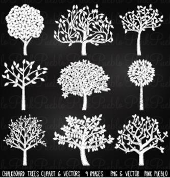 Chalkboard Tree Silhouettes Clip Art Clipart