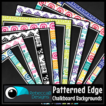 Tribal Patterned Framed Chalkboard Digital Papers