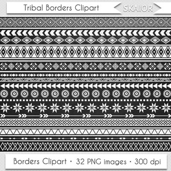 Chalkboard Tribal Borders Clipart Geometric Native American Aztec Ethnic African
