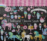 Chalkboard Unicorn Clipart, sweets, cupcakes, candy dessert chalk graphics
