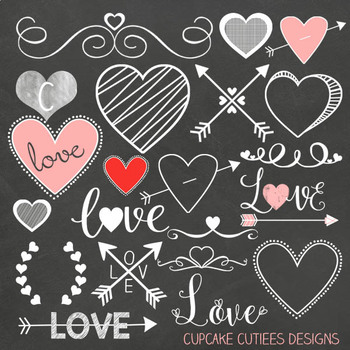 Chalkboard Valentine Digital Clip Art Set  with Bonus Papers