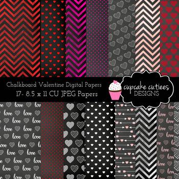 Chalkboard Valentine Digital Papers- 8.5 X 11 JPEG