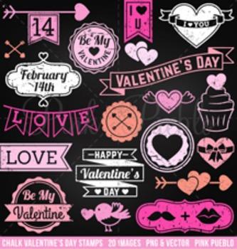 Chalkboard Valentine's Day Stamps Clipart Clip Art, Chalk Valentine