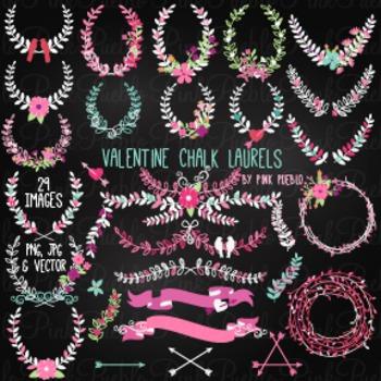 Chalkboard Valentine's Day Laurels Clipart Clip Art - Comm