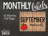 Chalkboard Vintage Wood Monthly Labels
