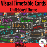 Chalkboard Visual Timetable Schedule Cards ** Editable