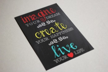 Chalkboard Wall Art Printable Imagine Your Dream Create Your Happiness