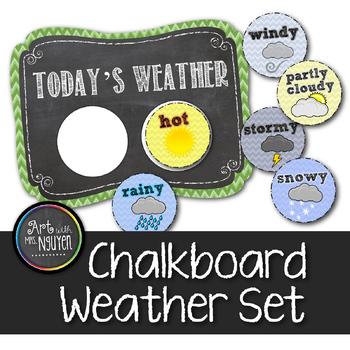 Chevron Chalkboard Weather Poster