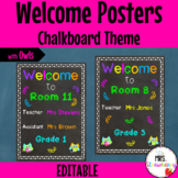 Chalkboard Welcome Poster with Owls **Editable