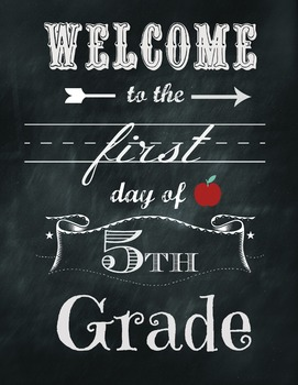 Chalkboard Welcome to the first day of 5th grade