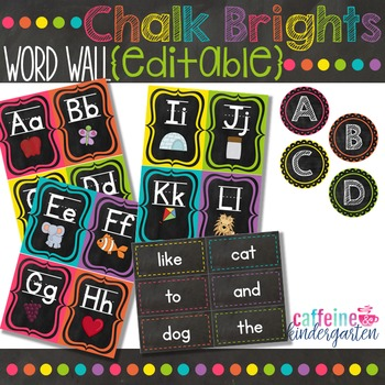 Chalkboard Theme Decor Word Wall - Black and Bright