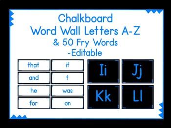 Chalkboard Word Wall Blue & 50 Fry Words Editable