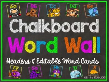 Chalkboard Word Wall Bold and Bright