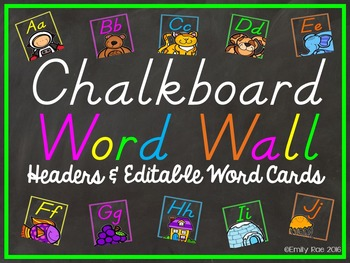 Chalkboard Word Wall Bold and Bright - D'Nealian Edition