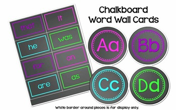 Chalkboard Word Wall Headers - With High Frequency Word Cards - Editable File