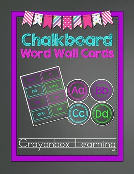 Chalkboard Word Wall Headers - With High Frequency Word Ca